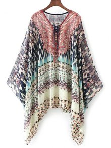 Lace Up Printed Chiffon Poncho Top