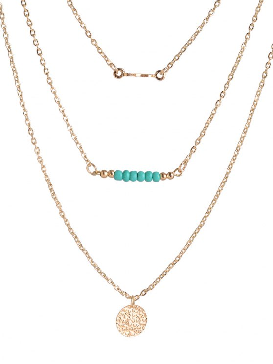 Coin Beads Bar Layered Necklace - GOLDEN  Mobile