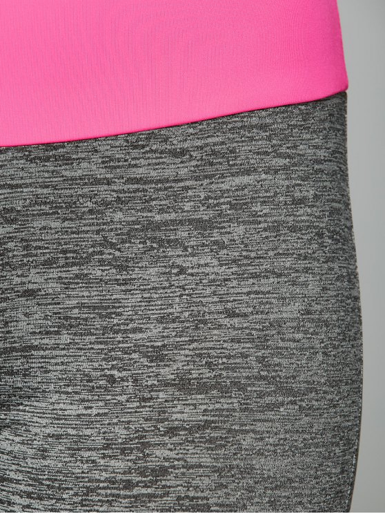 Space Dyed Color Spliced Leggings - ROSE RED S Mobile