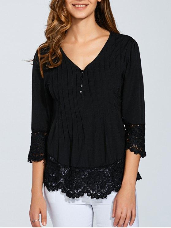 women's Scalloped Lace Splicing Blouse - BLACK L