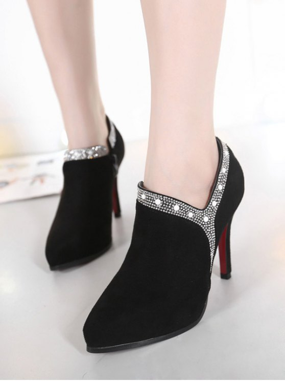 Flock Rhinestone Pointed Toe Ankle Boots - BLACK 39 Mobile