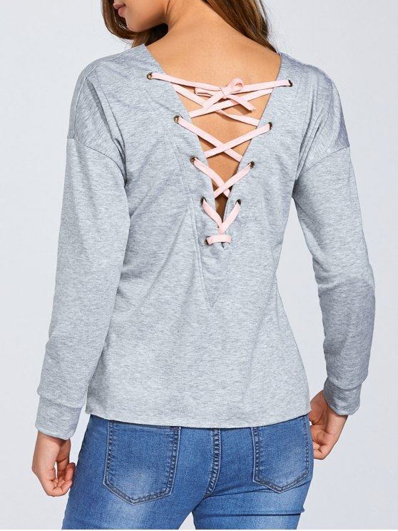 online Loose Lace-Up Sweatshirt - GRAY L