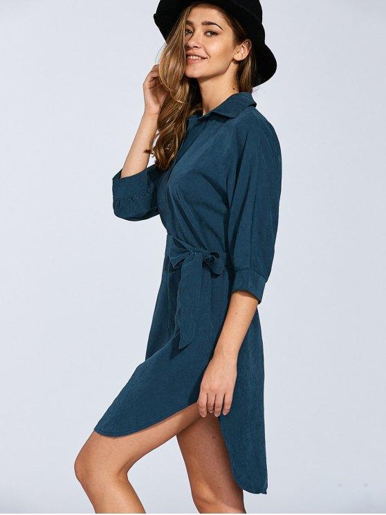 Self Tie Shirt Dress - BLACKISH GREEN M Mobile