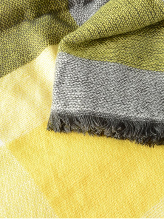 Plaid Series Fringed Scarf - YELLOW  Mobile