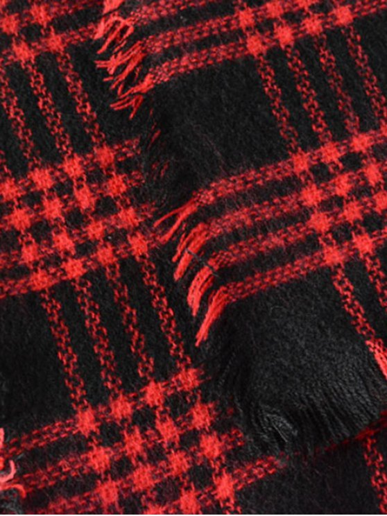Plaid Series Fringed Scarf - RED  Mobile