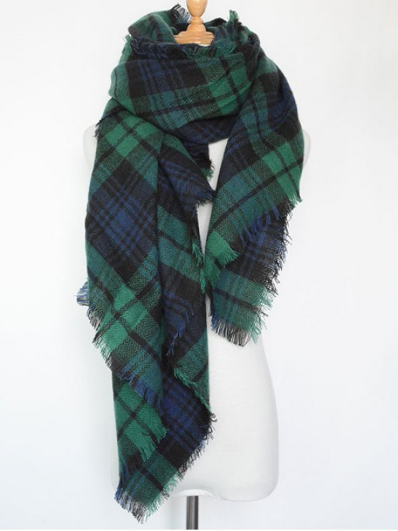 Plaid Series Fringed Scarf - BLACKISH GREEN  Mobile