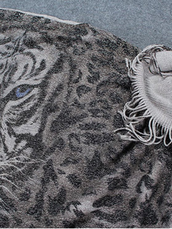 Tiger Head Tassel Poncho - GRAY  Mobile
