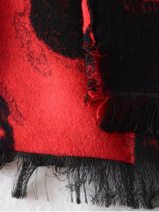 Fringed Edge Skull Shawl Scarf - RED  Mobile
