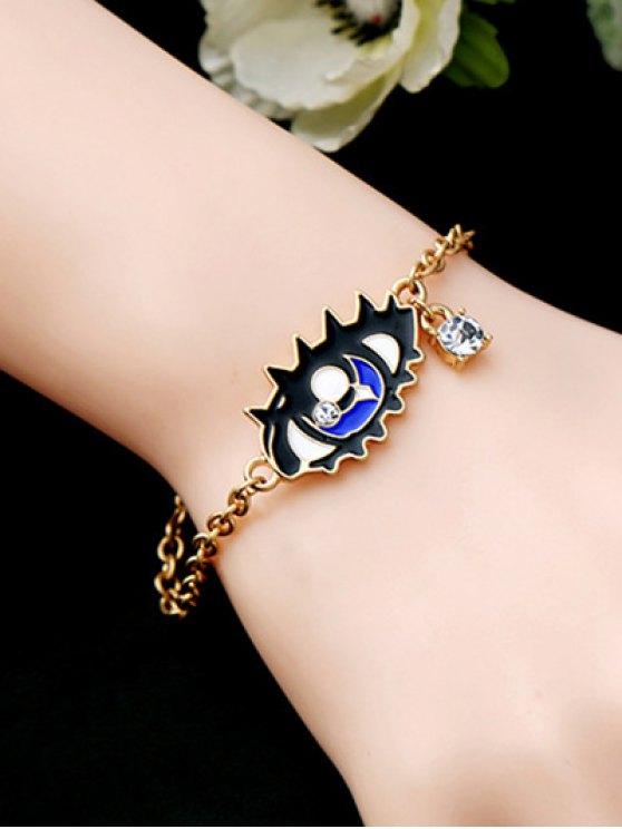 Rhinestone Moon Eye Bar Chain Bracelet - GOLDEN  Mobile