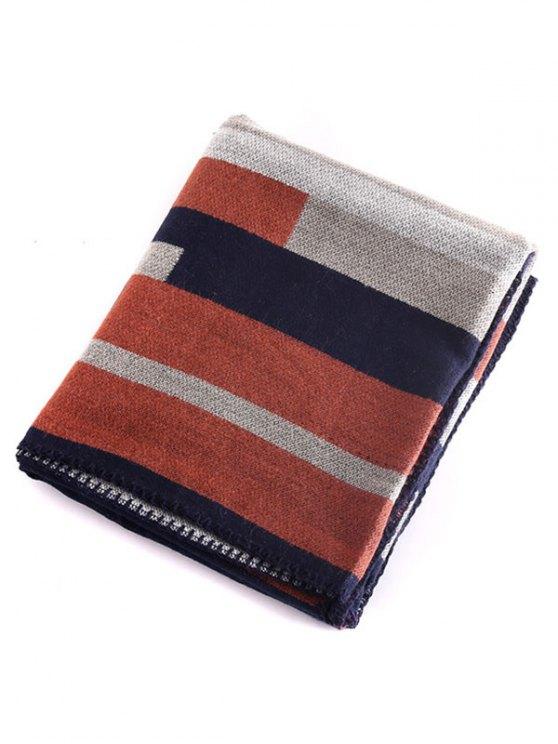 Stripe Wrap Pashmina - LIGHT BROWN  Mobile
