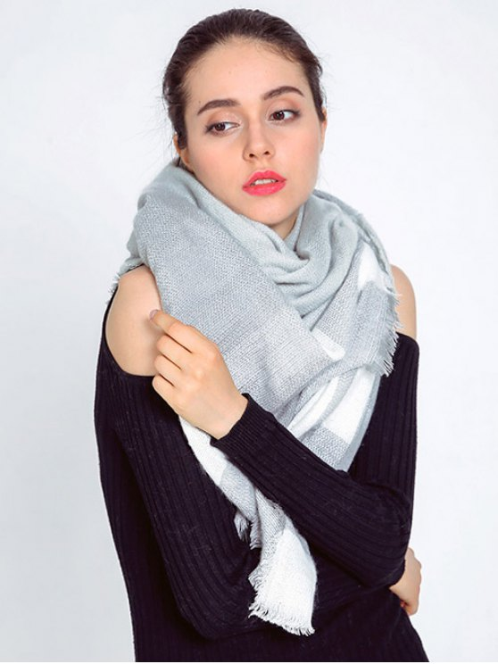 Plaid Fringed Autumn Scarf - LIGHT GRAY  Mobile
