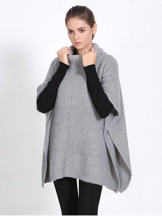 High Neck Sweater Cape Poncho - GRAY  Mobile