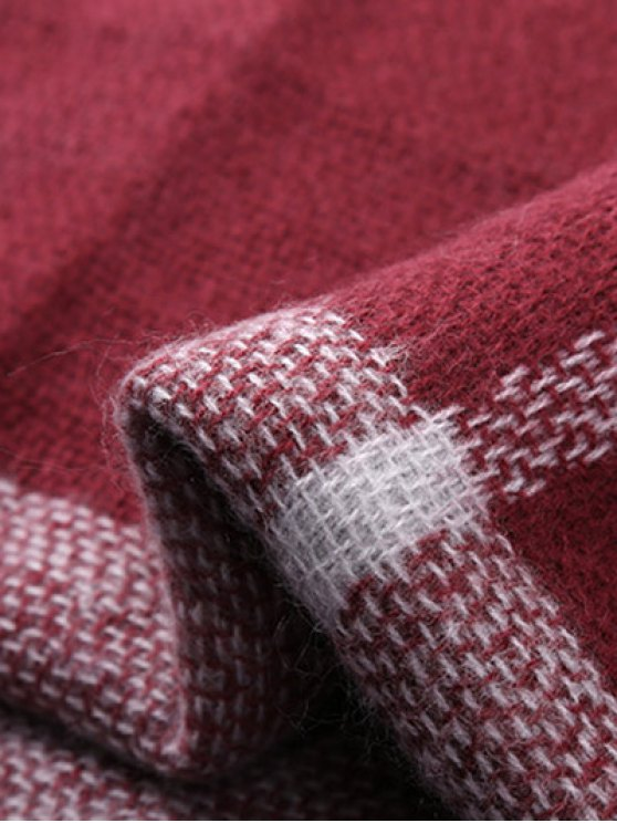 Plaid Fringed Shawl Scarf - WINE RED  Mobile