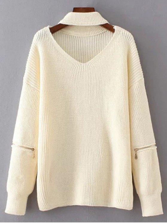 online V Neck Oversized Choker Sweater - WHITE ONE SIZE