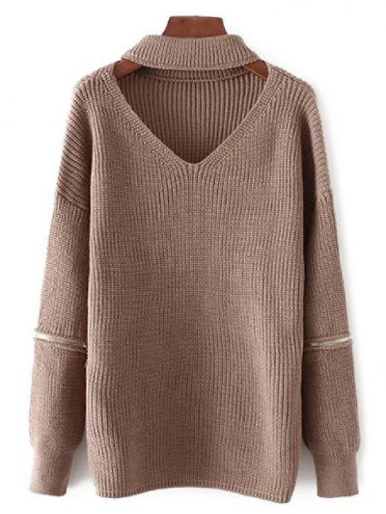 Recortable cuello en V suéter de gran tamaño - Café Única Talla