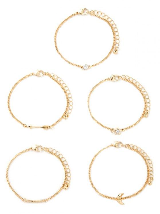 Rhinestone Moon Arrow Pentagram Bracelet Set - GOLDEN  Mobile