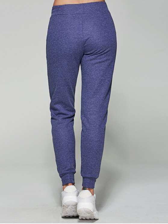 Friendly Heathered Sporty Pants - BLUE L Mobile
