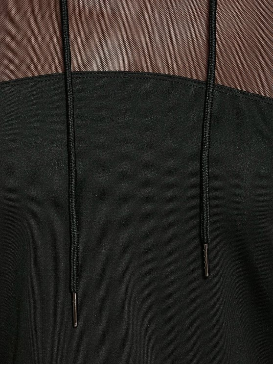 Cropped Hoodie with Mesh Leggings - BLACK L Mobile