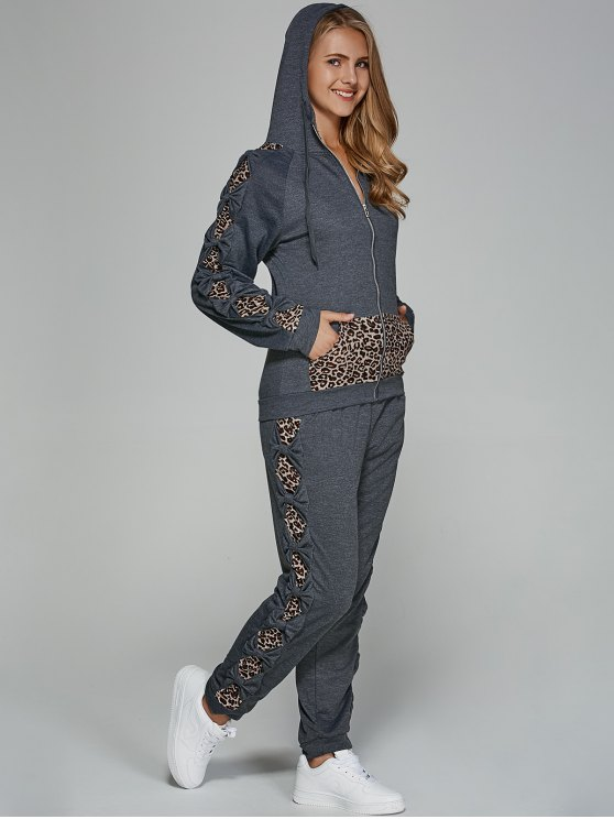 Leopard Trim Hoodie and Sweatpants - GRAY XL Mobile