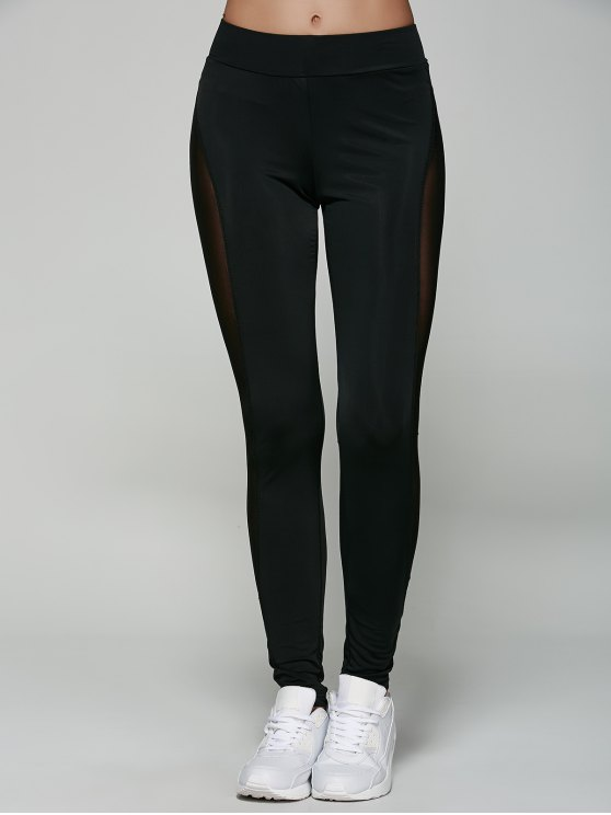 See-Through Mesh Leggings - BLACK M Mobile