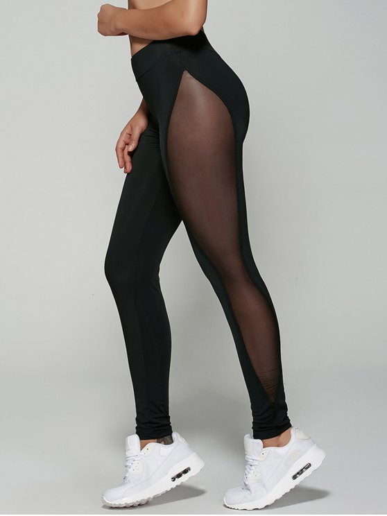 lady See-Through Mesh Leggings - BLACK M