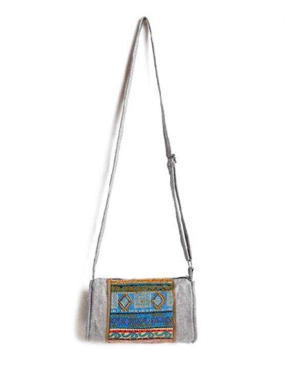 Ethnic Print Denim Crossbody Bag - COLORMIX  Mobile