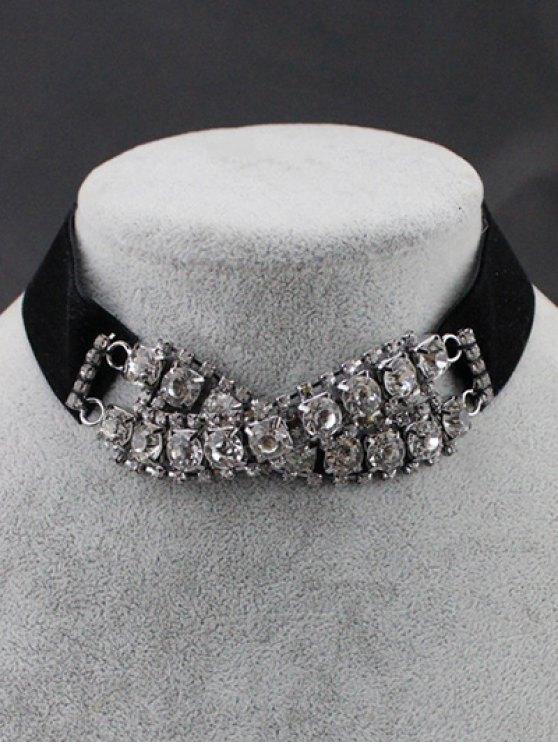 shop Rhinestone Choker Necklace - BLACK