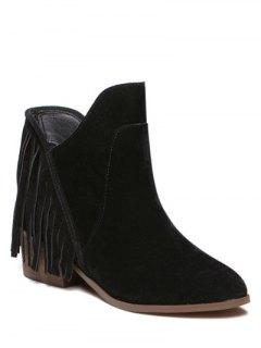 Suede Chunky Heel Fringe Boots - Black 37