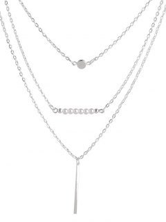 Faux Pearl Bar Layered Necklace - Silver