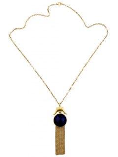 Tassel Chains Artificial Sapphire Circle Necklace - Blue