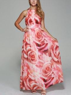 Flowers Print Round Neck Sleeveless Maxi Dress - Red 2xl