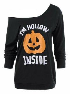 Skew Neck Pumpkin Lamp Print Halloween T-Shirt - Black Xl