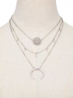 Flower Moon Layered Pendant Necklace - Silver
