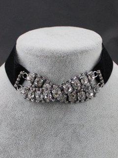Rhinestone Choker Necklace - Black