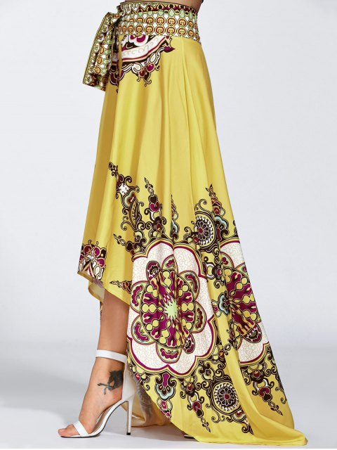 new High Low Pint Skirt - YELLOW L Mobile