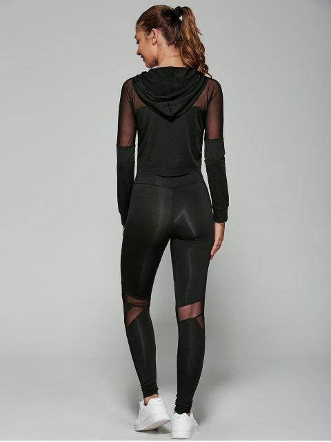 affordable Cropped Hoodie with Mesh Leggings - BLACK S Mobile