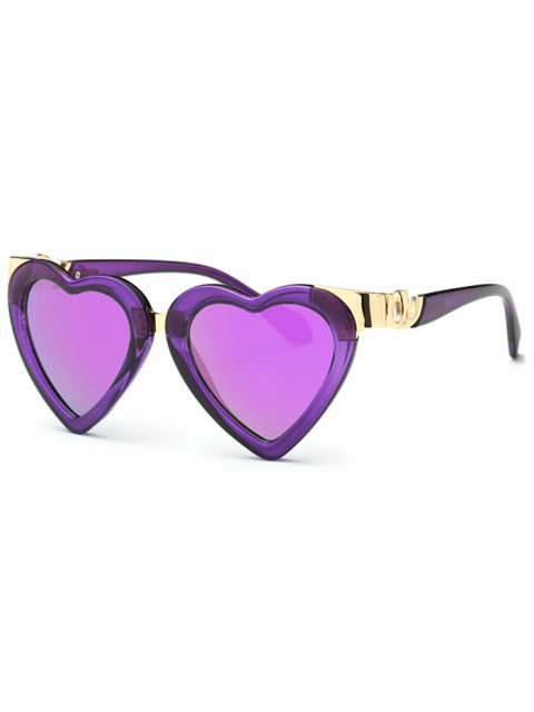 lady Heart Mirrored Sunglasses - PURPLE  Mobile