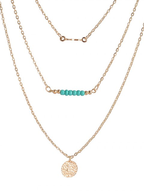 trendy Coin Beads Bar Layered Necklace - GOLDEN  Mobile