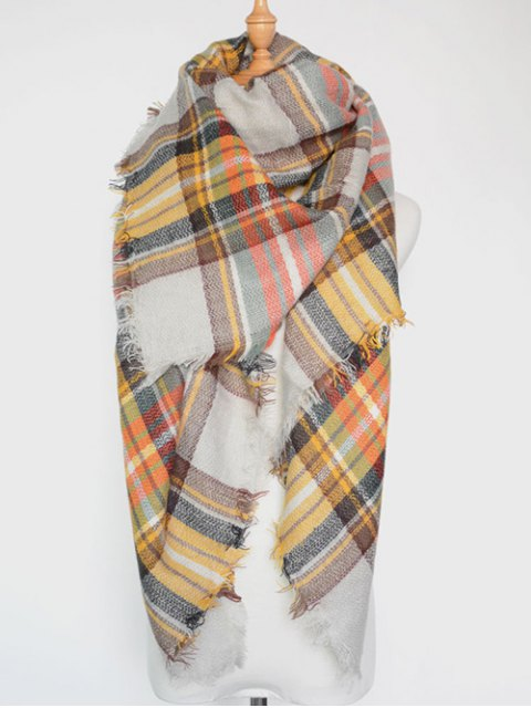new Plaid Series Fringed Scarf - WHITE  Mobile