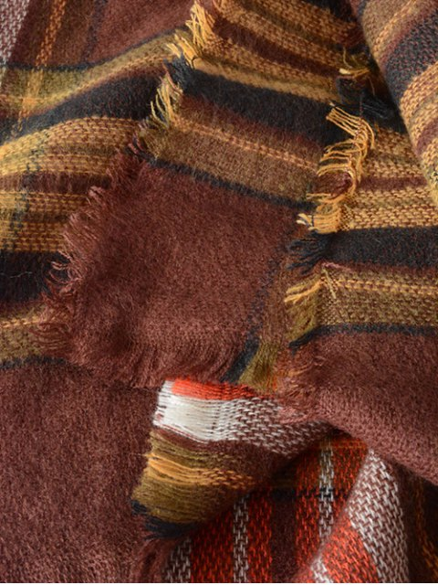 hot Plaid Series Fringed Scarf - COFFEE  Mobile