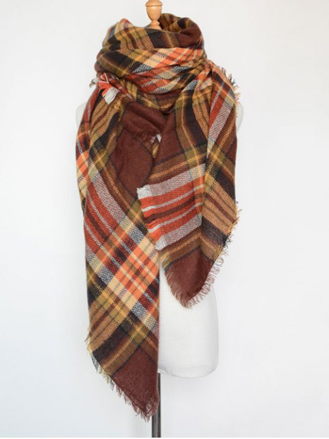 hot Plaid Series Fringed Scarf -   Mobile