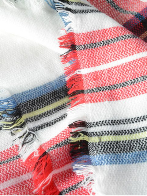 outfits Plaid Series Fringed Scarf - LIGHT RED  Mobile