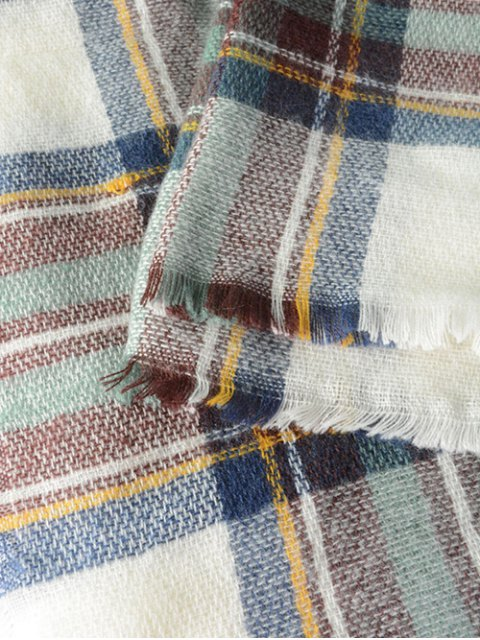 shop Plaid Series Fringed Scarf - LIGHT GREEN  Mobile