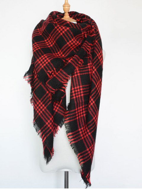 trendy Plaid Series Fringed Scarf - RED  Mobile