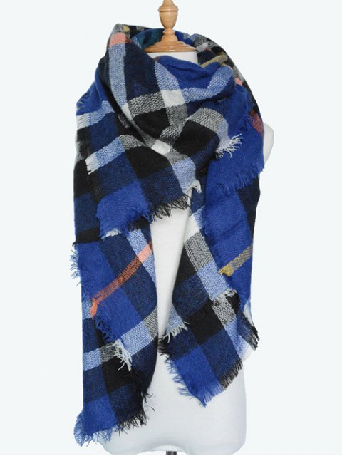 fancy Plaid Series Fringed Scarf - BLUE  Mobile