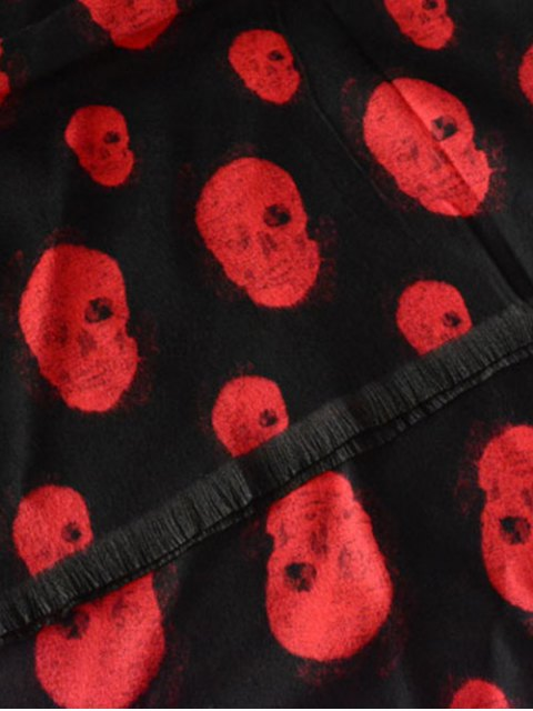 buy Fringed Edge Skull Shawl Scarf - RED  Mobile