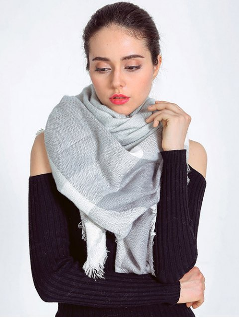 outfit Plaid Fringed Autumn Scarf - LIGHT GRAY  Mobile