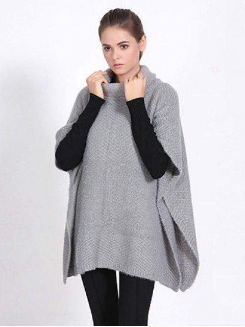 sale High Neck Sweater Cape Poncho - GRAY  Mobile