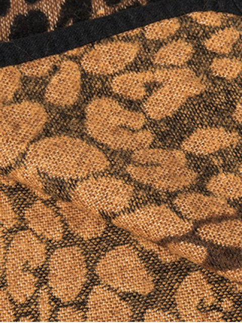 lady Cheetah Covered Edge Wrap Pashmina - DARK COFFEE  Mobile
