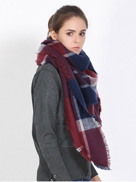shops Plaid Fringed Shawl Scarf - WINE RED  Mobile